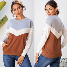 Fashion patchwork casual long sleeve Pullover Sweater