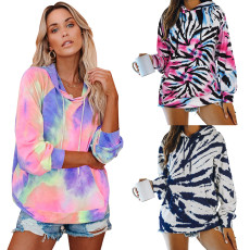 Casual colorful tie dye hooded drawstring long sleeve top