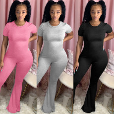 Sexy crew neck short sleeve flared pants Jumpsuit
