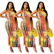 Casual fashion long Sleeveless Dress Tie Dye Dress