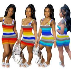 Color stripe casual Jumpsuit