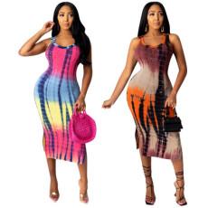 Casual fashion sleeveless Tie Dye Dress