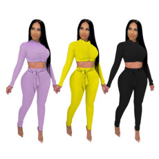 Solid color high elastic pit bar fashion casual two piece set