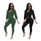 Casual fashion two piece set of solid color