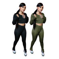 Pleated long sleeve split pants sports casual two piece set