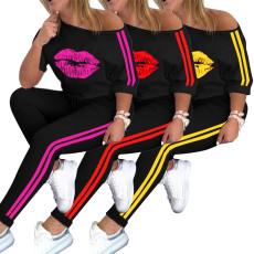 Lip print sports suit T-shirt 2-piece set