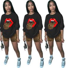 Fashion loose leopard lip leopard shorts 2-piece set