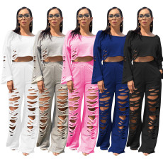 Casual cotton solid color perforated flared pants sweater set