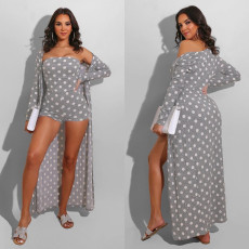 Fashion sexy wave point Cape two piece suit