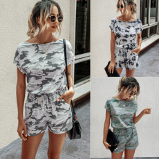 Fashion printed camouflage short sleeve casual Jumpsuit