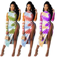 Sexy tie dye long sleeve dress