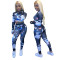 Print slim fit long sleeve sports fitness suit