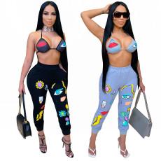 Sexy biki tight pencil pants 2-piece set