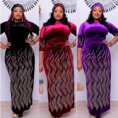 Printed patchwork long dress