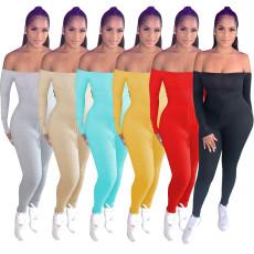 Rib flat shoulder long sleeve Jumpsuit