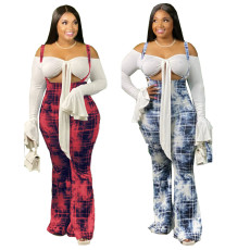 Fashionable printed suspender flared trousers (excluding top)