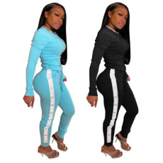Reflective ribbon letter tight long sleeve suit