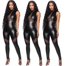 Sleeveless cut out Sexy Leather bodysuit Jumpsuit