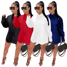 Long sleeve loose stand collar solid long shirt