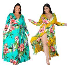 Digital print one piece split dress
