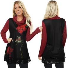 Half high collar floral print loose long sleeve T-shirt