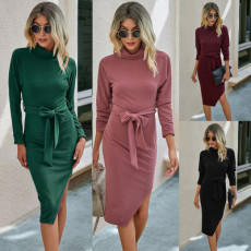 Slim dress with irregular hips