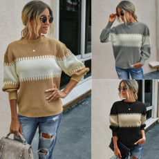 High collar contrast wool comfortable sweater