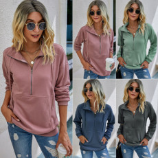 Solid color zipper pocket Pullover