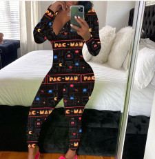 Casual pattern printed long sleeve pants home Jumpsuit