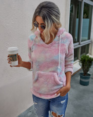 Fashionable tie dye warm and comfortable hooded Plush top