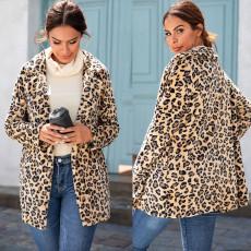 Warm Lapel Leopard Coat medium length slim woolen coat