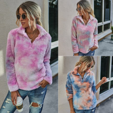 Stand collar tie dyed Plush comfortable Pullover