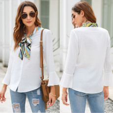 Long Sleeve Chiffon shirt slim flared sleeve fashion bow top