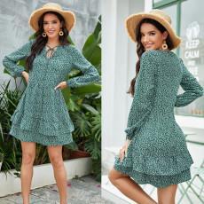 Fashion long sleeve Floral Dress