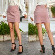Fashion double pocket skirt high waist slim wrap hip skirt short skirt