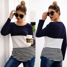 Stripe stitching long sleeve Pullover