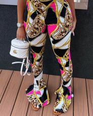Fashion tight flared print pants