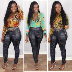 Fashionable pleated PU leather pants