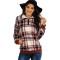 Fashion long sleeve Lapel plaid sweater long sleeve slim coat top