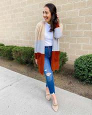Fashion stripe sweater bag cardigan Color matching jacket