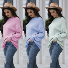 Slouchy style round neck loose long sleeve Pullover Top