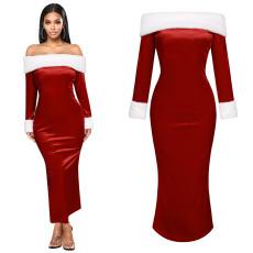 Christmas skirt slit shoulder dress