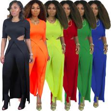 Fashion temperament solid color long hollow two piece set