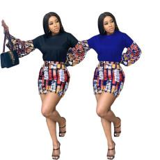 Irregular print long sleeve short skirt sexy two piece set