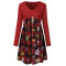 Long Sleeve Plaid print A-line skirt with high waist V-neck
