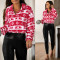 Christmas deer print top Plush Lapel loose long sleeve zipper sweater