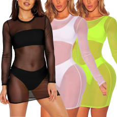 Solid color mesh dress