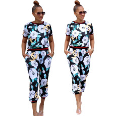 Sexy fashion digital print sports suit
