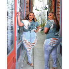 Personalized stretch denim Leggings with holes and slim fit