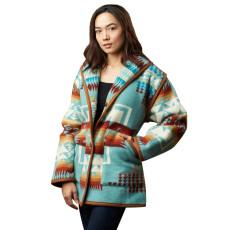 Printed long sleeve woolen coat